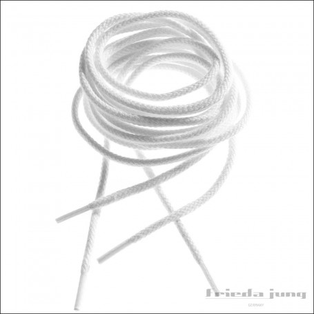 Round shoelaces 2.5mm in White. Thin fine shoelaces