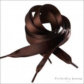 Satin shoelaces 16mm wide in Dark Brown by Frieda Jung