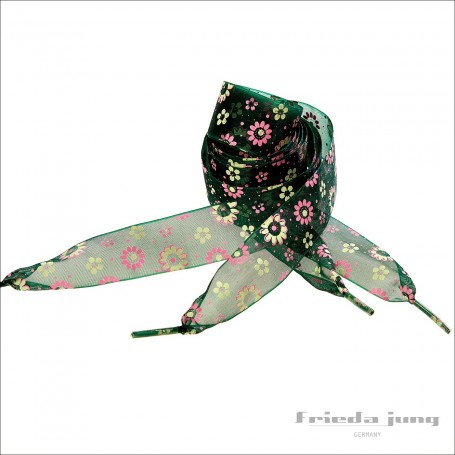 Shoelaces from organza chiffon in Green