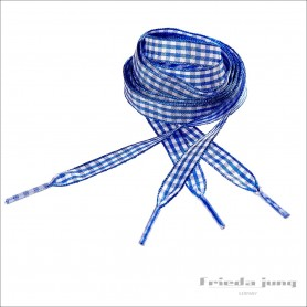 Plaid ribbon shoelaces. Chequered Blue/White shoelaces