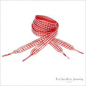 Plaid ribbon shoelaces. Chequered Dark Red/White shoelaces