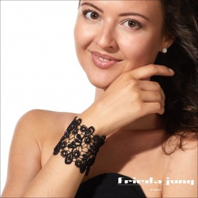 Embroidered lace bracelet in Black by Frieda Jung. Buy Online.
