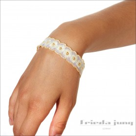 Narrow lace bracelet in Yellow-Floral design by Frieda Jung.