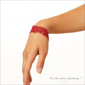Narrow lace bracelet in Red by Frieda Jung. Buy Online.