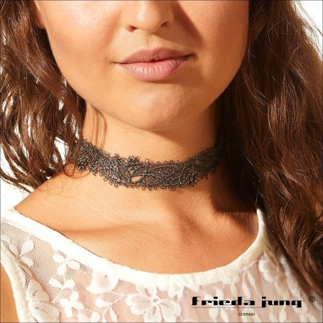 Embroidered lace choker in Grey by Frieda Jung. Buy Online.