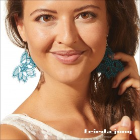 Embroidered lace earrings in Turquoise by Frieda Jung.