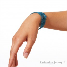 Narrow lace bracelet in Turquoise by Frieda Jung. Buy Online.