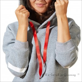 Satin hoodiestrings / sweatshirt strings in Red by Frieda Jung.