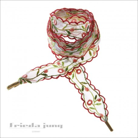Shoelaces from embroidered lace in a Colourful-Floral design by Frida Jung