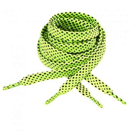 Flat Cross Pattern Laces for Sports & Leisure Neon Yellow - Black